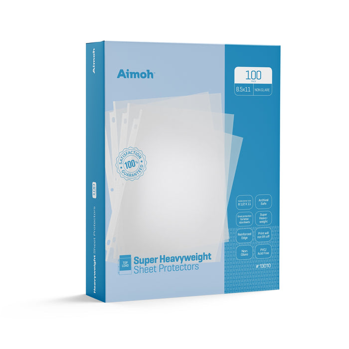 Sheet Protectors - Letter Size - 100 Pack Super Heavyweight Non-Glare - 8.5 x 11, 3-Hole Punched, Reinforced Edge, PVC/Acid Free-Archival Safe-Print will not lift off, Top Load (13010)
