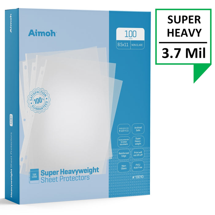 Sheet Protectors - Letter Size - 100 Pack Super Heavyweight Non-Glare - 8.5 x 11, 3-Hole Punched, Reinforced Edge, PVC/Acid Free-Archival Safe-Print will not lift off, Top Load (13010) - Aimoh