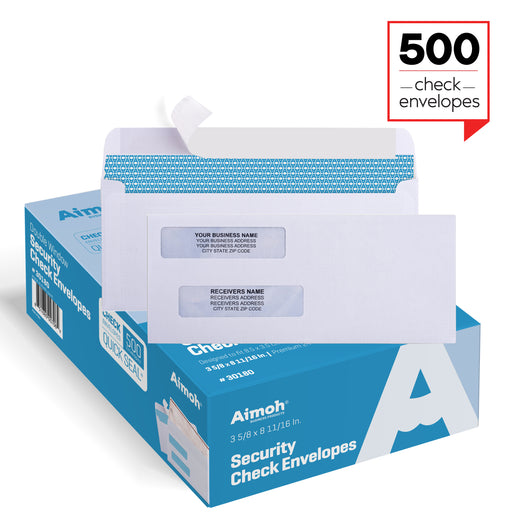 Check Envelopes - Double Window - SELF-SEAL - Security Tinted - Aimoh