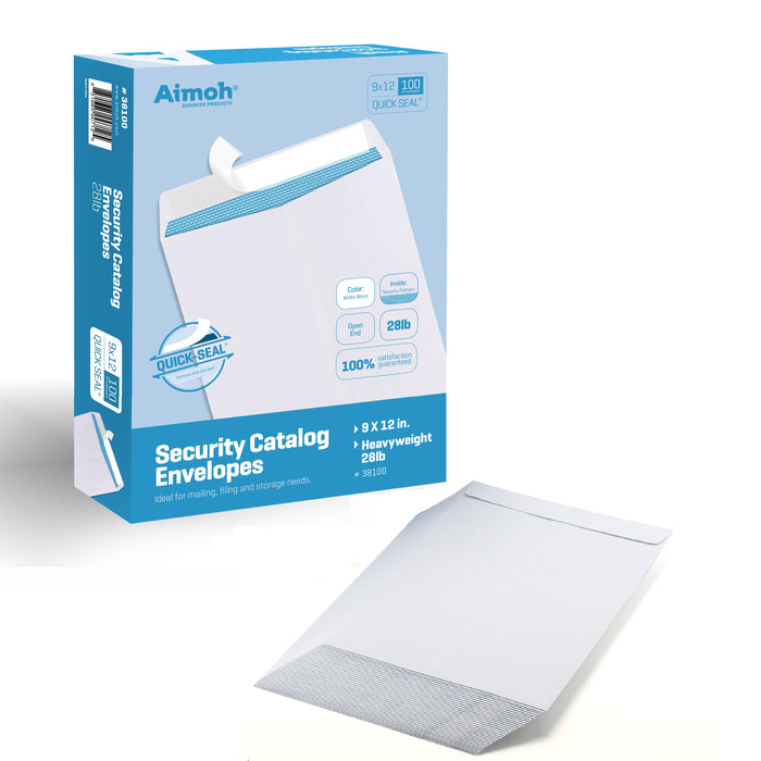 9X12 Envelopes - Security Tinted - Self-Seal - White - 100 Count - Aimoh