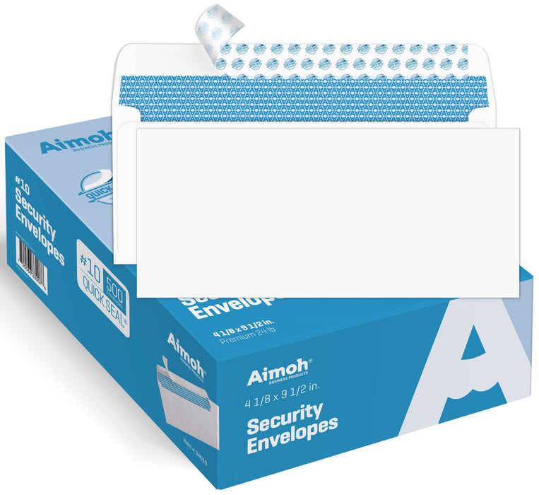 #10 Envelopes - No Window - SELF-SEAL - Security Tinted - Aimoh