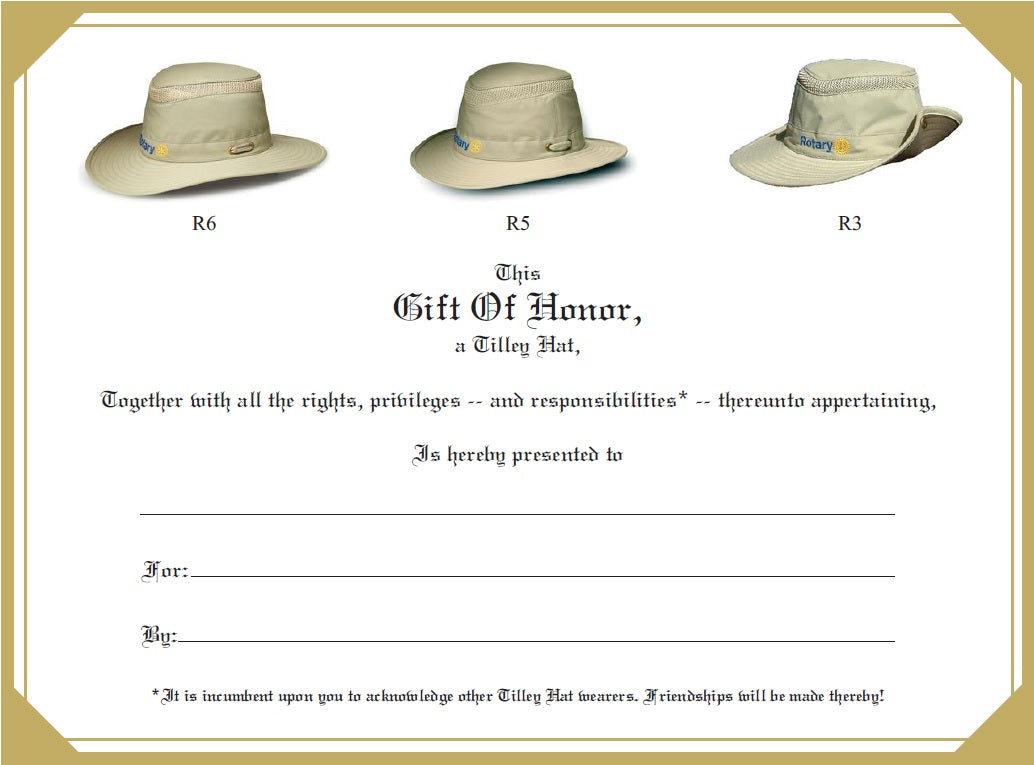 Tilley Gift Certificate front