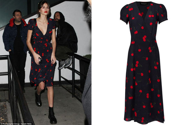 Cherry Print Wrap Dress style inspired by Kaia Gerber affordable dresses
