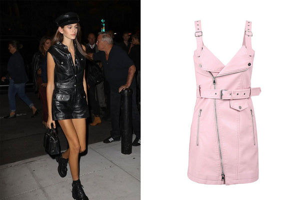 All Over Mini Leather Pink Dress with Zippers Biker Dress Kaia Gerber Style