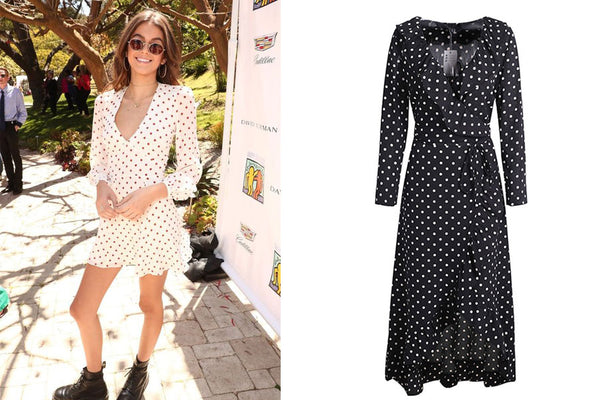 Polka Dot Wrap Dress Kaia Gerber Inspired Style Fashion The Bad Outfit