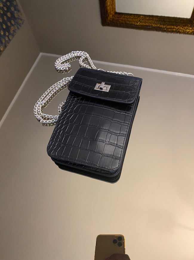 Vertical 2 Way Snakeskin Bag