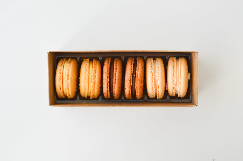 2 Chocolate, 2 Vanilla, & 2 Lemon - 6 Macarons - Organic
