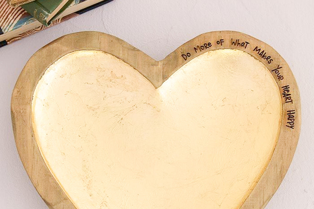 What Makes You Happy Gold Foil Heart Dish