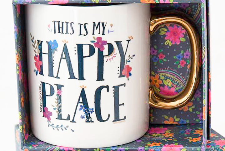 Happy Place Gold Handled Mug