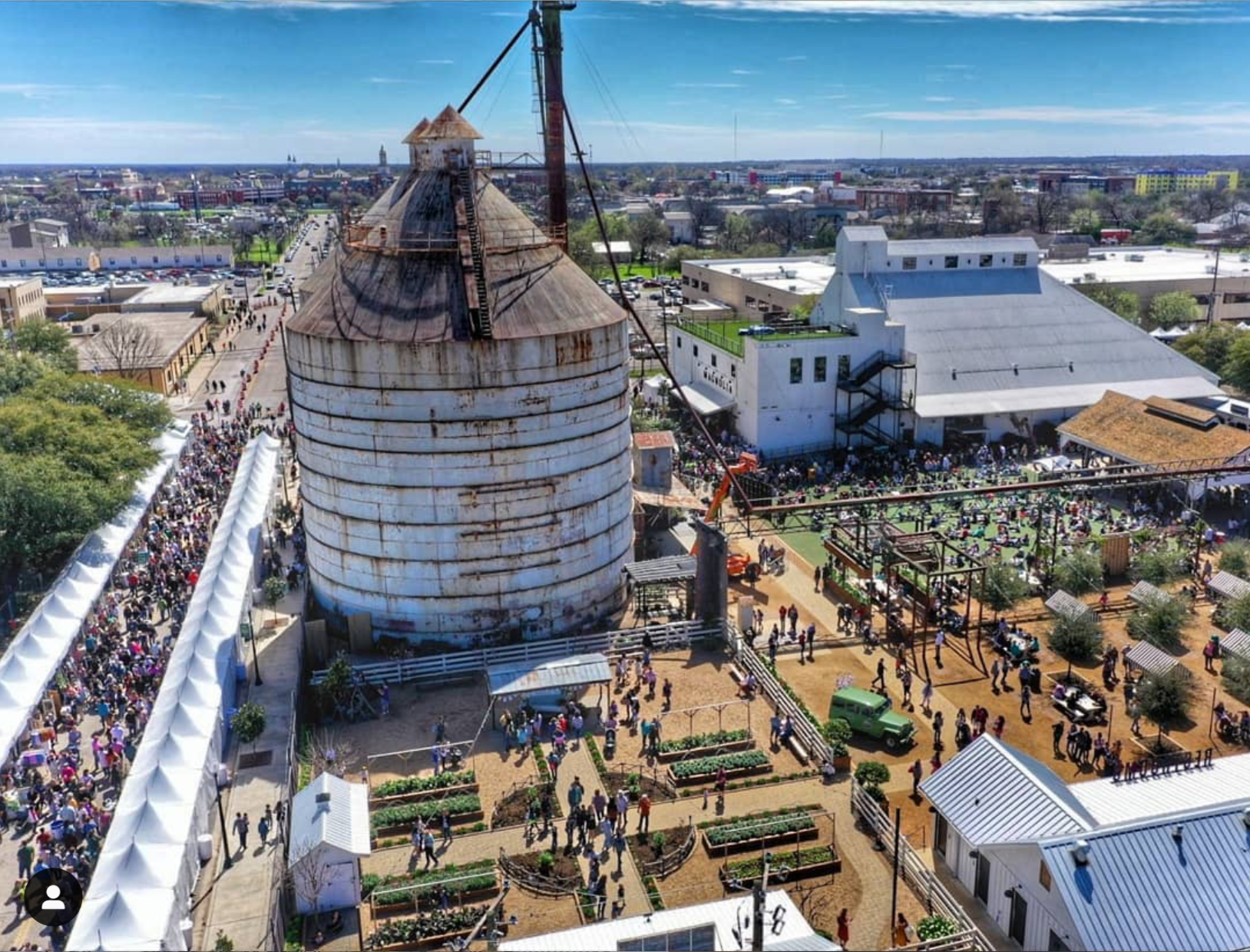 Overhead photo of Spring at the Silos