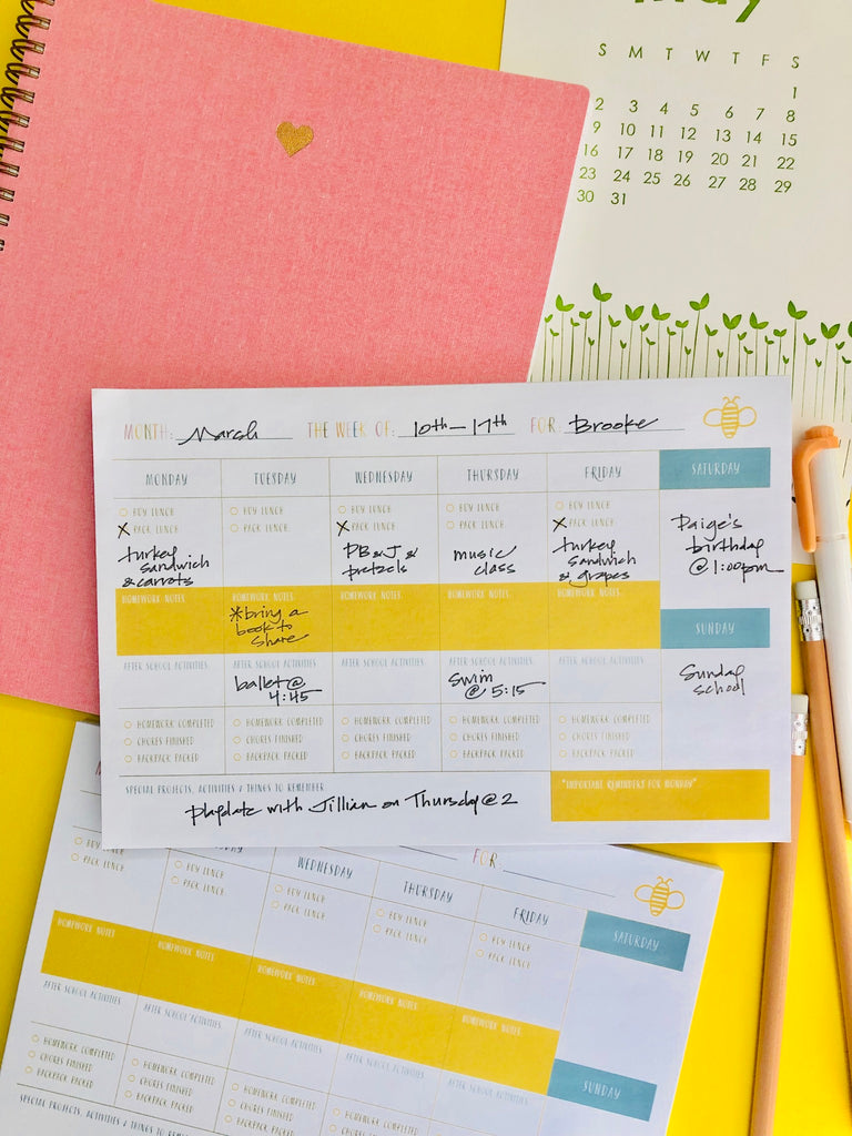 Wee Bee Weekly Planning Notepad