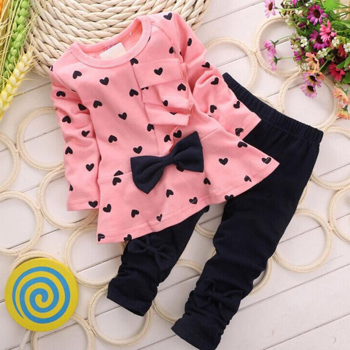 Baby Girls clothing Sets Heart-shaped Print Bow Cute 2PCS Kids Set T shirt + Pants Love Bowknot Girls Clothing Set - Global Best Retail