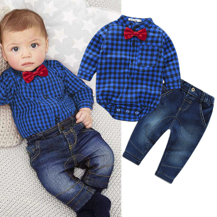 baby boys clothing set plaid rompers with bowtie + demin pants 2017 fashion baby boy clothes newborn baby clothes - Global Best Retail