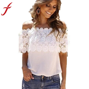 Sexy Women Off Shoulder Blouse 2017 Fashion Beachwear Casual Tops Lace White Chiffon Crochet Shirt - Global Best Retail
