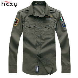 HCXY 2016 Fashion Casual Mens Shirts Long Sleeve Military Style Air Force One Shirt Cotton Shirts menClothing Brand Shirts - Global Best Retail