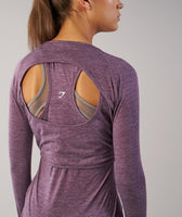 Gymshark Double Up Long Sleeve Top - Purple Wash Marl 12
