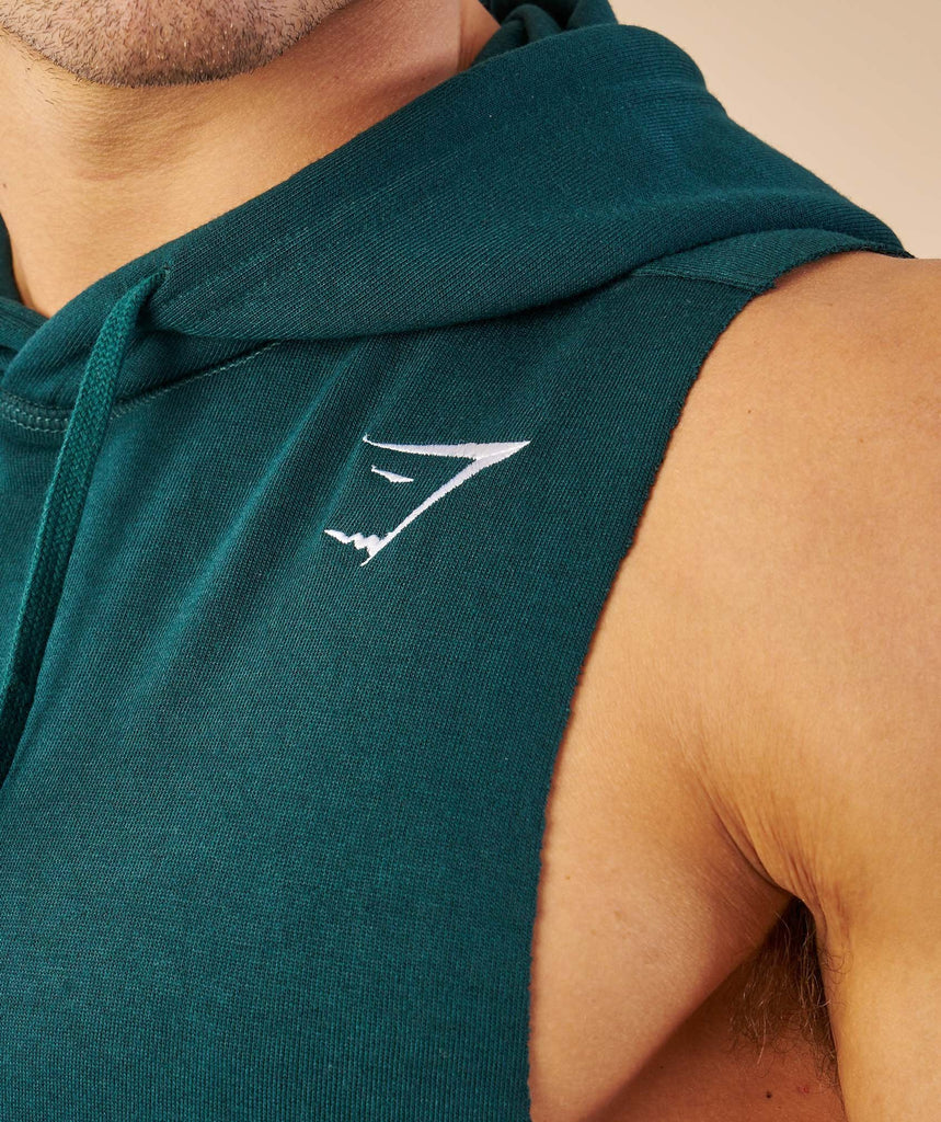 Gymshark Drop Arm Sleeveless Hoodie - Forest Green 6
