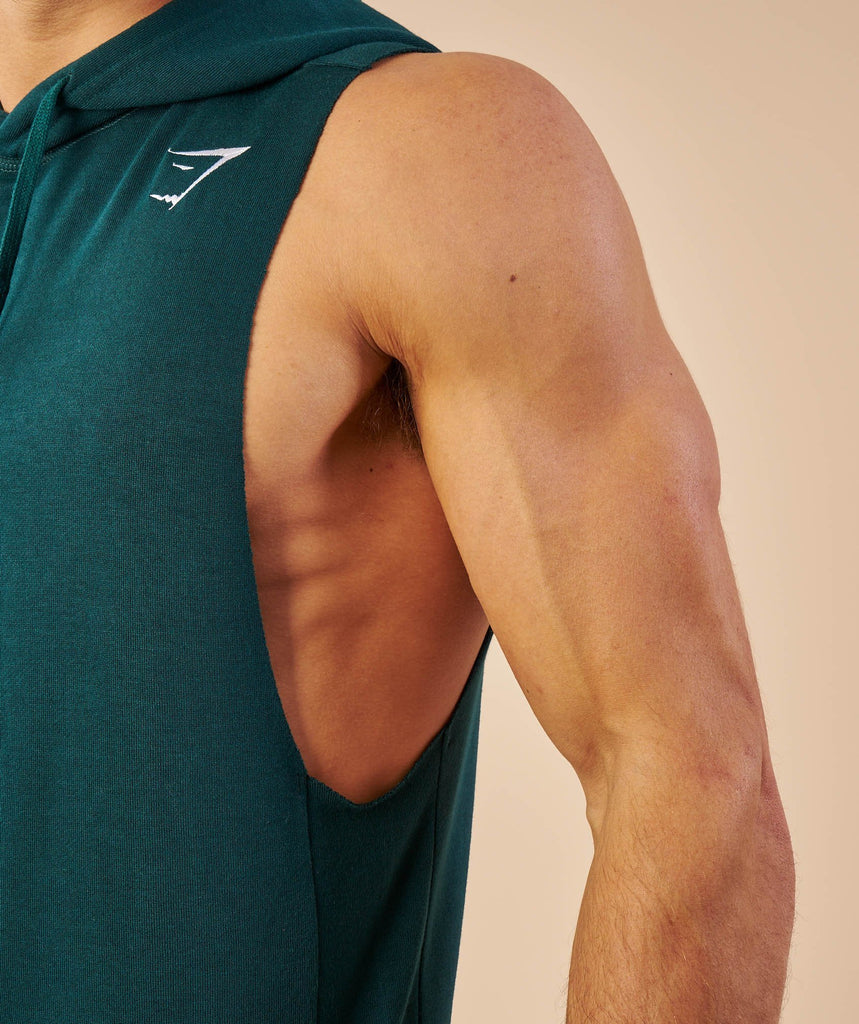 Gymshark Drop Arm Sleeveless Hoodie - Forest Green 5