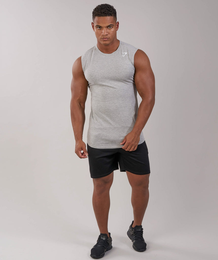 Gymshark Ark Sleeveless T-Shirt - Light Grey Marl 4