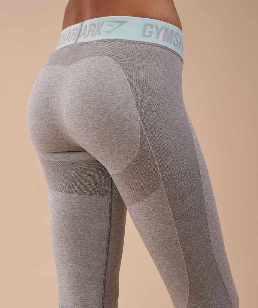 Gymshark Flex Cropped Leggings - Light Grey Marl/Pale Turquoise 5