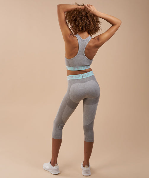Gymshark Flex Cropped Leggings - Light Grey Marl/Pale Turquoise 1