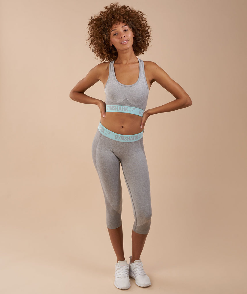 Gymshark Flex Cropped Leggings - Light Grey Marl/Pale Turquoise 4