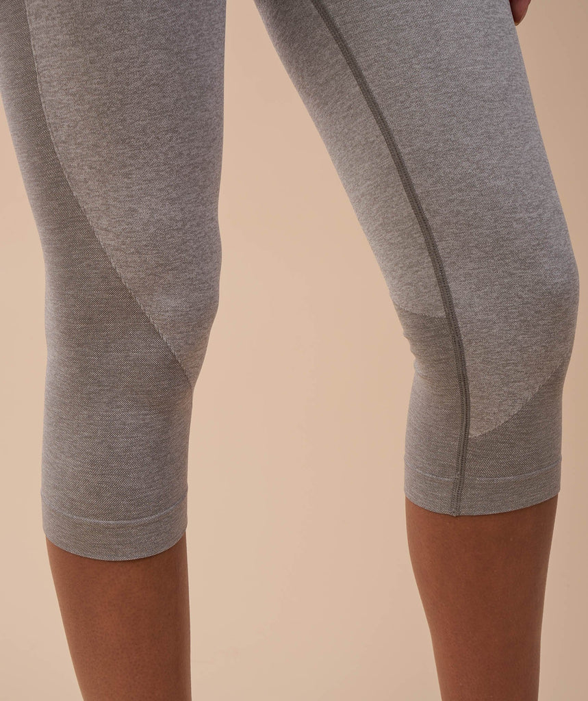 Gymshark Flex Cropped Leggings - Light Grey Marl/Pale Turquoise 6
