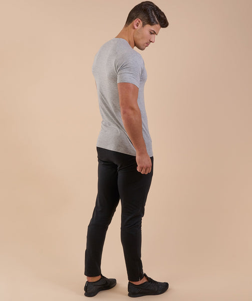 Gymshark Apollo T-Shirt - Light Grey Marl/White 2