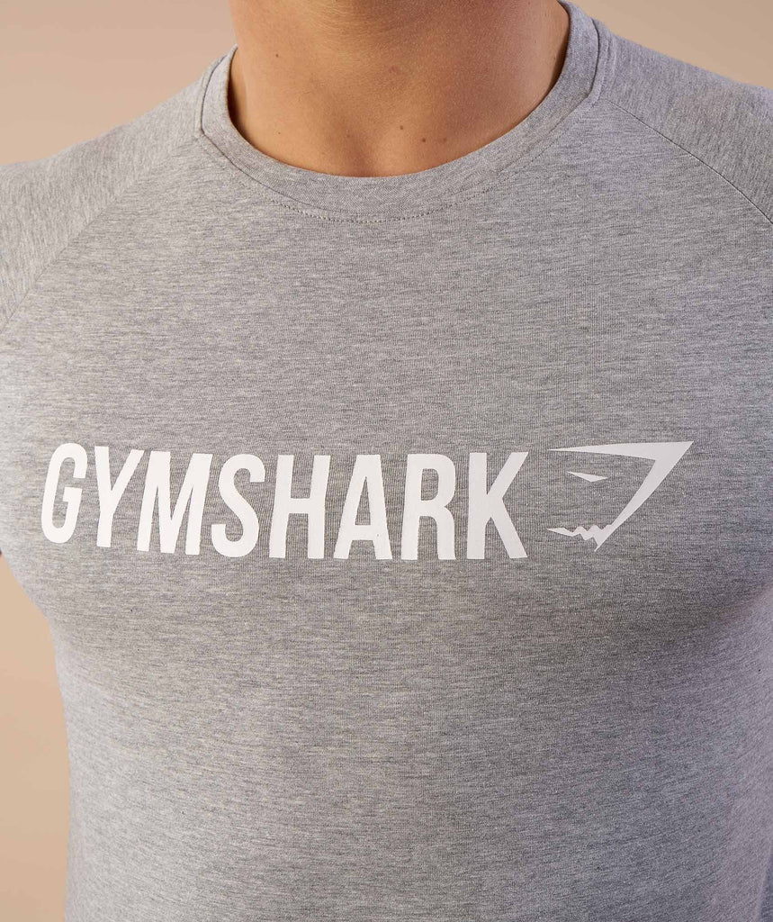 Gymshark Apollo T-Shirt - Light Grey Marl/White 5
