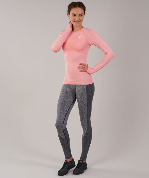 Gymshark Vital Seamless Long Sleeve Top - Peach Pink Marl 3