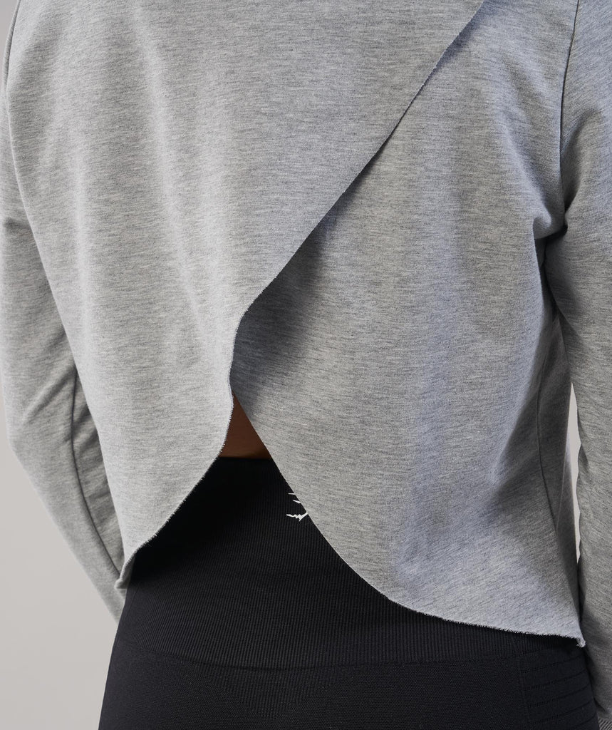 Gymshark Cross Back Hoodie - Light Grey Marl 2