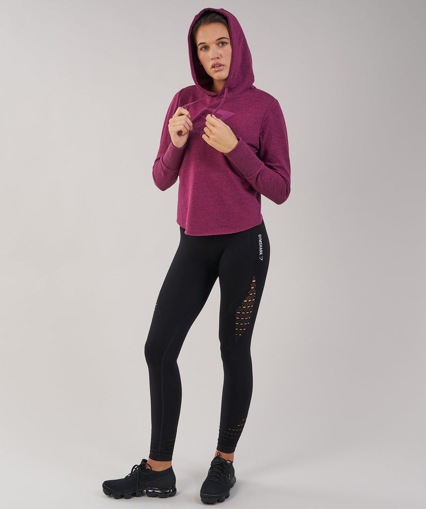 Gymshark Cross Back Hoodie - Deep Plum Marl 1