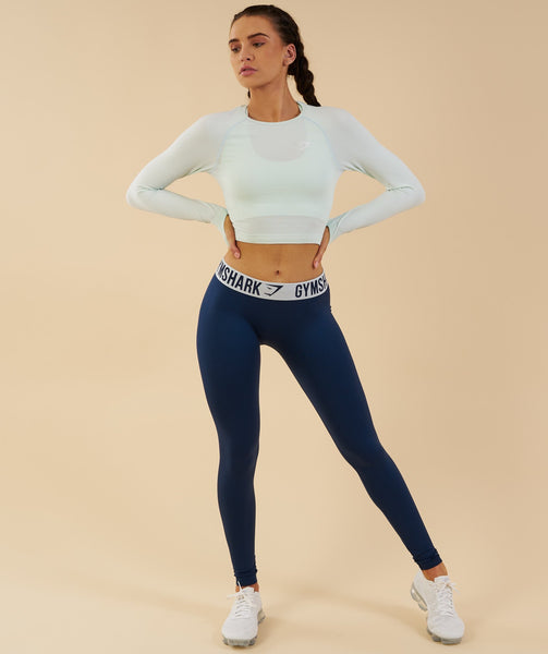 Gymshark Vital Seamless Long Sleeve Crop Top - Sea Foam Green 4