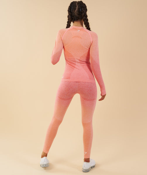Gymshark Ombre Seamless Long Sleeve Top  - Peach Coral 2