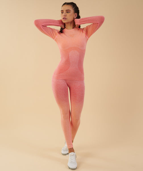 Gymshark Ombre Seamless Long Sleeve Top  - Peach Coral 3