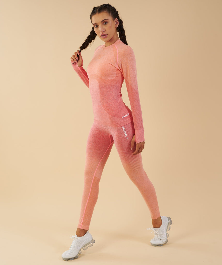 Gymshark Ombre Seamless Long Sleeve Top  - Peach Coral 6