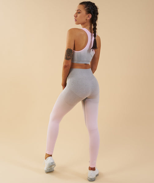 Gymshark Ombre Seamless Leggings  - Light Grey/Chalk Pink 2