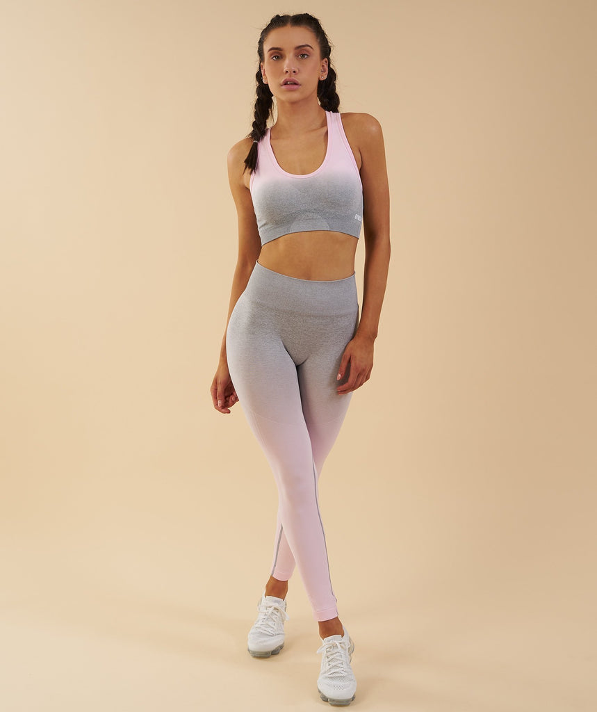Gymshark Ombre Seamless Leggings  - Light Grey/Chalk Pink 4