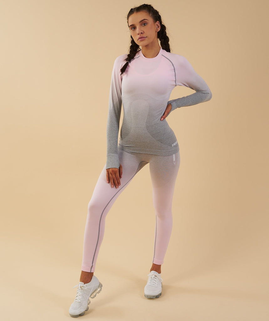 Gymshark Ombre Seamless Long Sleeve Top  - Light Grey/Chalk Pink 6