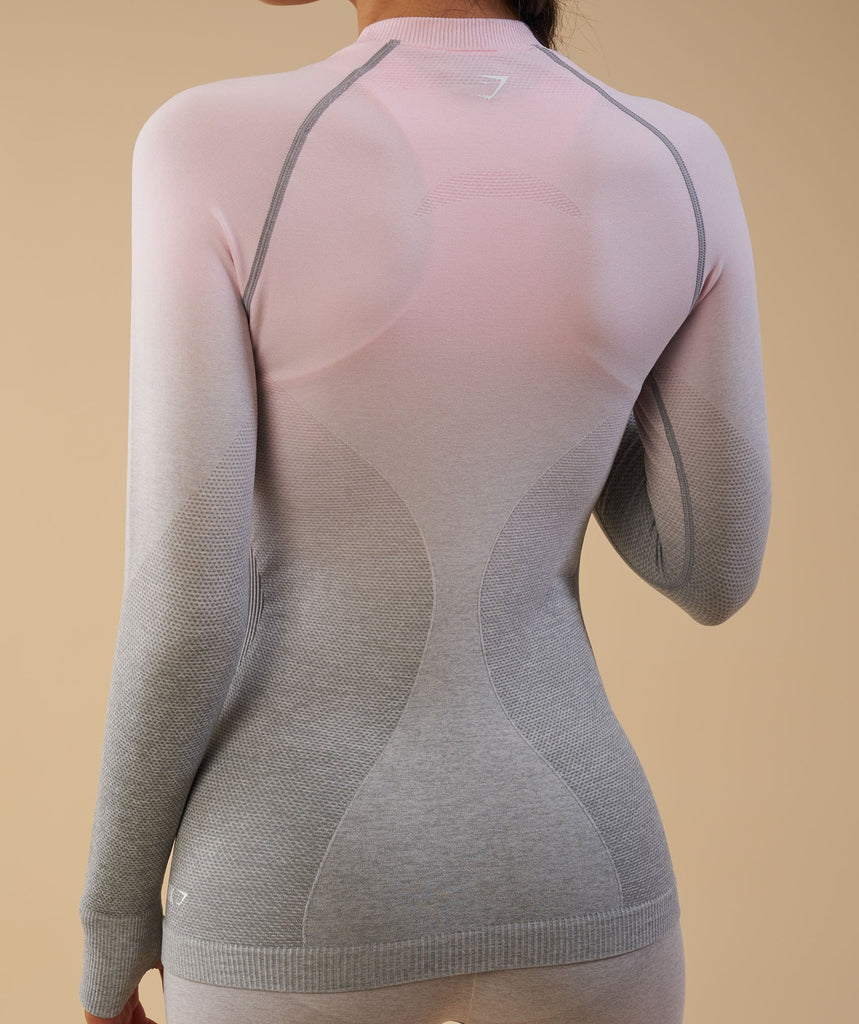 Gymshark Ombre Seamless Long Sleeve Top  - Light Grey/Chalk Pink 5