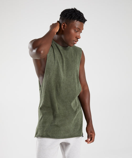 Gymshark Acid Wash Drop Arm Sleeveless T-Shirt - Alpine Green 4