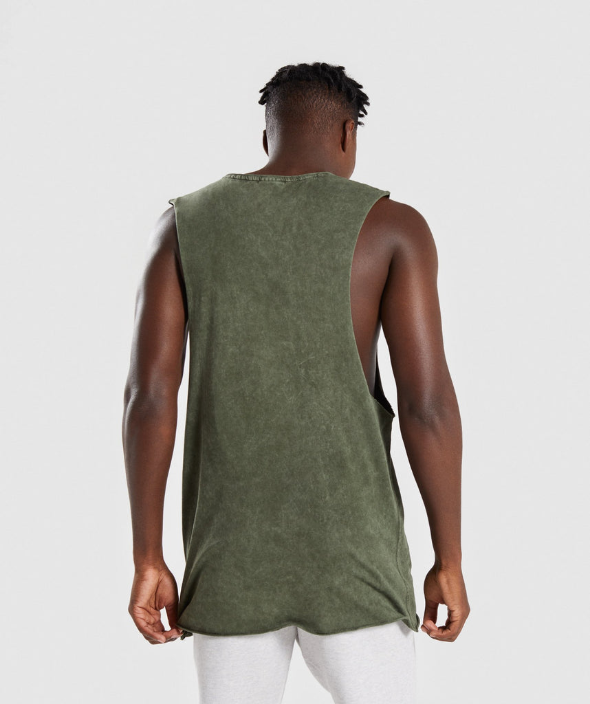 Gymshark Acid Wash Drop Arm Sleeveless T-Shirt - Alpine Green 2