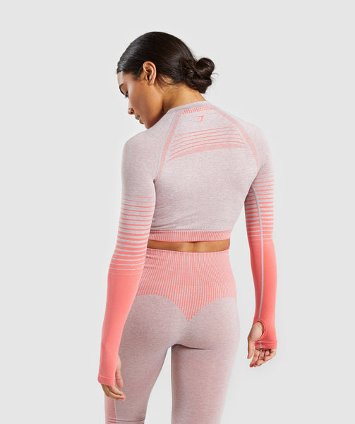Gymshark Amplify Seamless Long Sleeve Crop Top  - Taupe Marl/Peach Coral 1