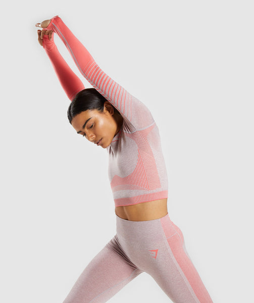 Gymshark Amplify Seamless Long Sleeve Crop Top  - Taupe Marl/Peach Coral 2