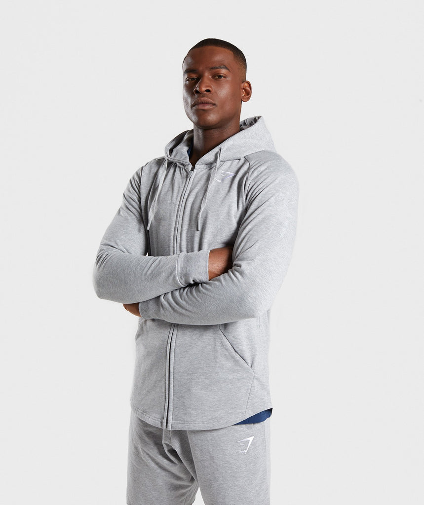 Gymshark Ark Zip Hoodie - Light Grey Marl 1