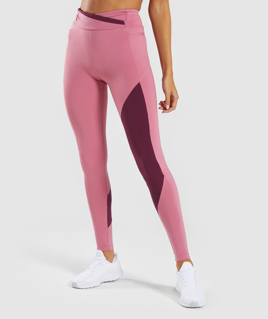 Gymshark Asymmetric Leggings - Dusky Pink/Dark Ruby 1