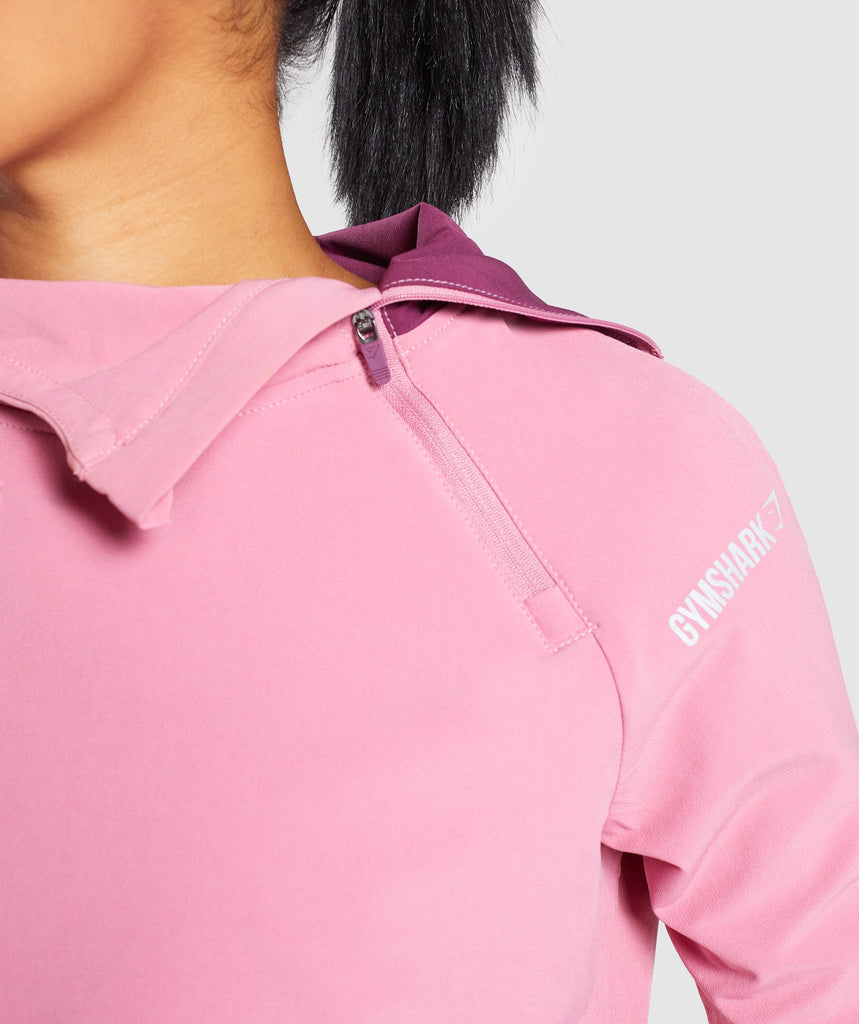 Gymshark Asymmetric Performance Hoodie - Dusky Pink/Dark Ruby 5
