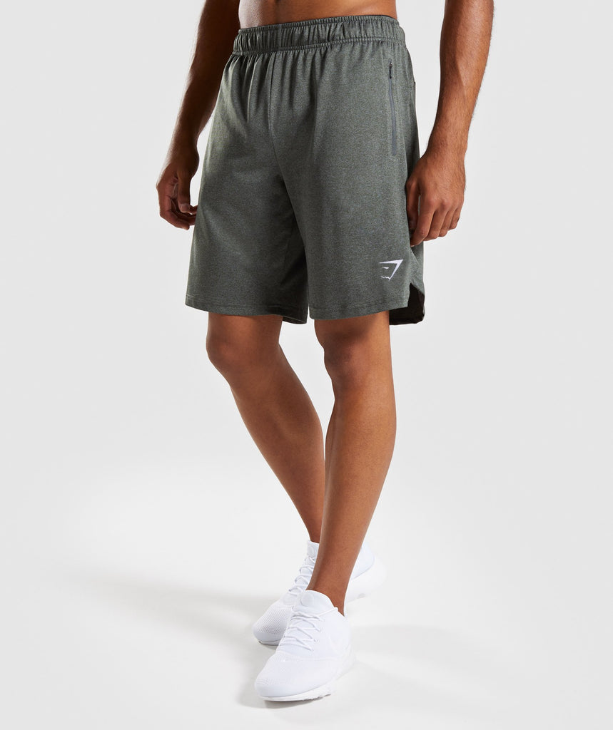 Gymshark Basic Training Shorts - Woodland Green Marl 1