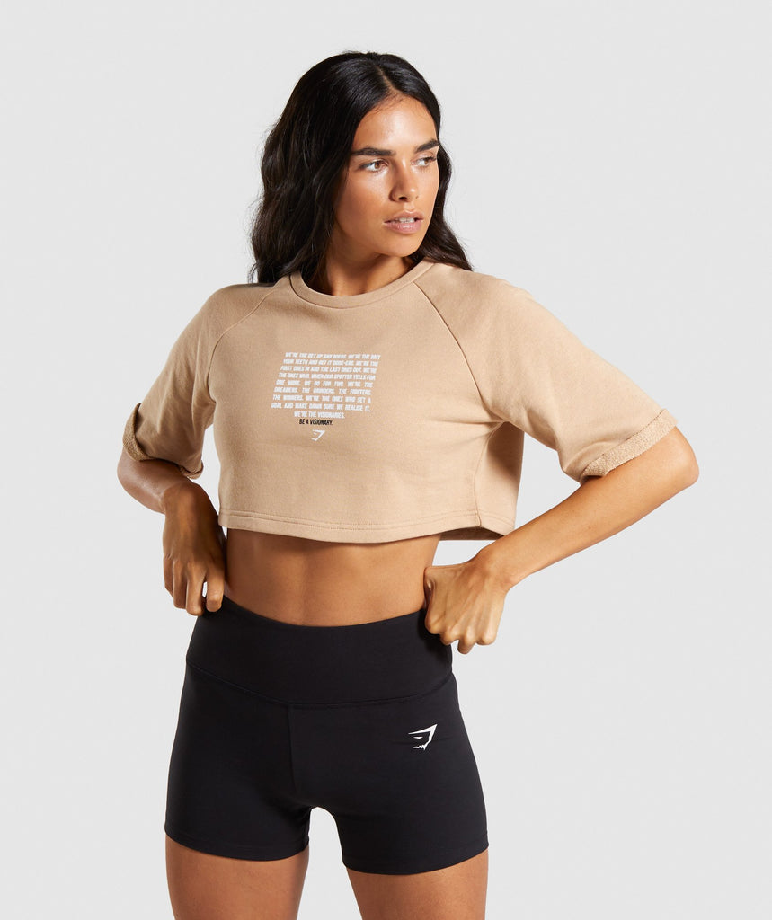 Gymshark The Visionaries Boxy Cropped Sweater - Beige 1