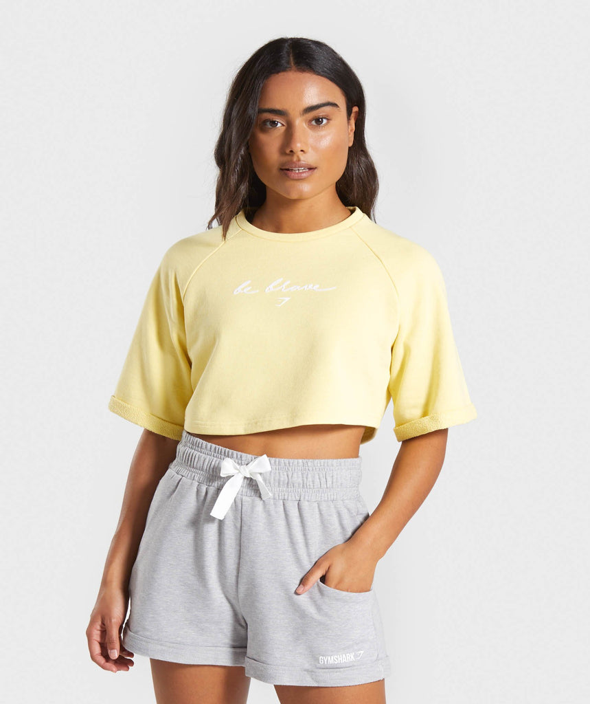 Gymshark Be Brave Boxy Cropped Sweater - Yellow 1